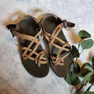 Chaco Sandals Adjustable Straps Orange Brown 9.5